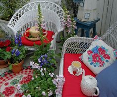 I am so glad that you stopped by. My garden gate is always open for you to come in and sit with a cup of tea and relax in the . Outside Living, Outdoor Living, Outdoor Spaces, Outdoor Decor, Terrace Garden, Garden Swings, White Wicker, Garden Gates, Cottage Chic