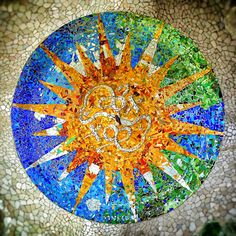 Mosaics in the ceiling. Park Guell. Antoni Gaudi. Barcelona. Spain by Adalbertop, via Flickr