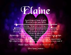 Elaine Name Meaning - First Name Creations