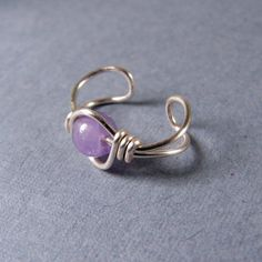 Sterling Silver Ear Cuff Cape Amethyst Gemstone by WireYourWorld