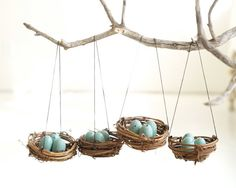 Nest Christmas Ornaments Blue Eggs Tree Decorations by Fairyfolk, $15.00
