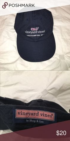 Brand new navy blue Vineyard Vines hat Brand new navy blue Vineyard Vines hat from Southampton, NY. Front of hat has light pink whale with a white outline, with Vineyard Vines and Southampton, NY stitched in white. Back has adjustable strap Vineyard Vines Accessories Hats