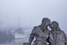 Kiss in the Fog    statue at Percival Landing, Olympia WA: The Kiss by Richard S. Beyer (1990)