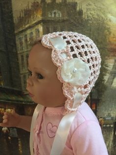 Delicate Baby Girl Bonnet, Handmade crochet hat, Newborn photo shoot prop by LaceyRoseKnits on Etsy https://www.etsy.com/ca/listing/470762541/delicate-baby-girl-bonnet-handmade