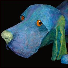 by Judge, Paper Mache Dog Sculpture