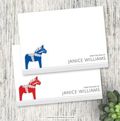 Personalized name note cards featuring the Swedish Dala horse. Elegant stationery with scandinavian design