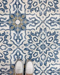 Our Villa Azul Collection brings the timelessness of old world design into your home. It has the aesthetic appeal of hand painted cement… Penny Tile Floors, Ceramic Floor Tiles, Morrocan Floor Tiles, Cement Floors, Painting Cement, Online Interior Design Services, Stenciled Floor, Outdoor Tiles, Enchanted Home
