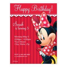 Invitación roja y blanca de Minnie del cumpleaños