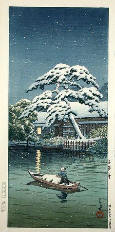 Snow at Funabori, 1932 by Kawase Hasui