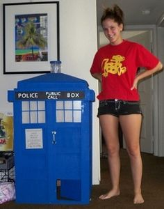 Doctor Who Tardis cat house. Because everytime my cat disappears, she's just saving all of time and space, as usual.