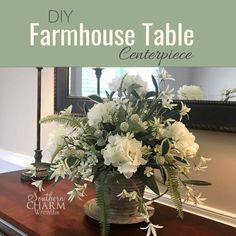 Learn to make a rustic farmhouse table centerpiece using fluffy white hydrangeas perfect for your decor or for a rustic wedding. Farmhouse Table Centerpieces, Rustic Farmhouse Table, Simple Centerpieces, Wedding Centerpieces, Artificial Flower Arrangements, Artificial Flowers, Silk Arrangements, Industrial Chic, Free Your Mind
