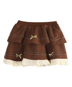 Coffee Lace Tiered Skirt - Infant, Toddler & Girls by Richie House #zulily #zulilyfinds