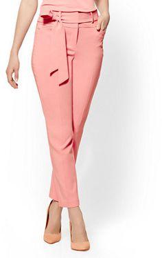 2a9b4461c41 Petite Paperbag-Waist Slim-Leg Pant - Pink - 7th Avenue