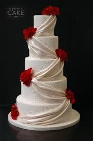 pearl quilted red wedding cake