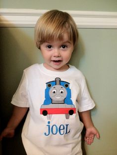Thomas the Train applique shirt by DDDesigns4 on Etsy, $22.00