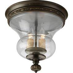 Progress Lighting Fiorentino 11.75-in W Forged Bronze Ceiling Flush Mount Light