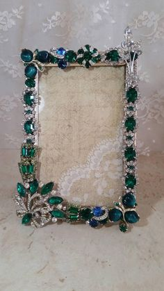 Your place to buy and sell all things handmade Vintage Jewelry Crafts, Funky Jewelry, Recycled Jewelry, Vintage Costume Jewelry, Jewelry Frames, Jewelry Tree, Victorian Christmas Decorations, Homemade Pictures, Rhinestone Art