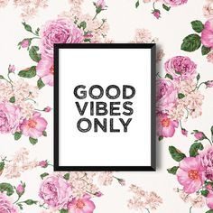 Good Vibes Only Poster Digital Print Black and White Typography Quote Motivational Home Decor Instant Download Screenprint Letterpress