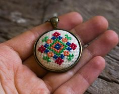 Cross stitch necklace Ukrainian folk embroidery by skrynka
