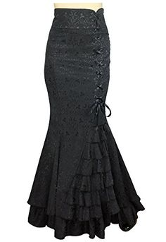 nice -Shimmery Night in London- Jacquard Fishtail Victorian Vintage Style Black Skirt