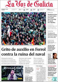 Los Titulares y Portadas de Noticias Destacadas Españolas del 2 de Diciembre de 2013 del Diario La Voz De Galicia ¿Que le pareció esta Portada de este Diario Español?