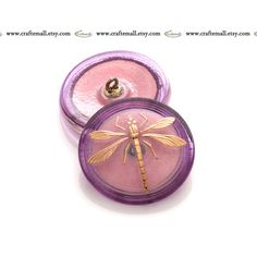 Handmade Czech glass button  31mm pink and gold by Craftemall