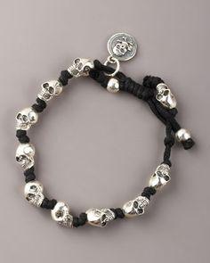 Knotted Skull Bracelet by King Baby Studio Skull Bracelet, Skull Jewelry, Pearl Bracelet, Jewelry Bracelets, Knotted Bracelet, Rock Chic, Style Rock, King Baby Jewelry, Jewelry Accessories