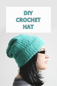 Learn how to make this Easy Crochet Hat using this free pattern. This cute and stylish hat is made from a simple rectangle. A great project for a beginner. If you can single crochet you can make this hat.
