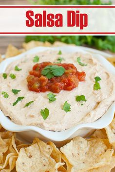 5 minutes and 4 ingredients are all you need to make this zesty, creamy Salsa Dip.  Great make ahead Mexican appetizer for a snack, party, potluck or holiday. Serve with tortilla chips, veggies or crackers. Perfect recipe for your summer BBQ. #dips #appetizers #salsa #snacks #potluck #summer Mexican Appetizers, Holiday Appetizers, Dip Recipes, Cooking Recipes, Cracker Dip, Easy Snacks, 4 Ingredients, Tortilla Chips, Salsa