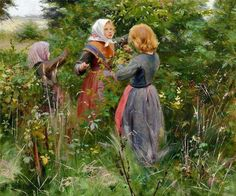 Hans Andersen Brendekilde – Danish) Three Little Girls Picking Blackberries Great Paintings, Illustration, Painting Illustration, Art Database, Painting, Beautiful Paintings, Visual Art, Art, Andersen