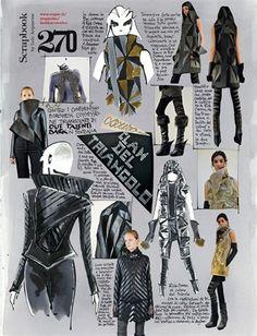 Dark clan of the triangle - Vogue. Fashion Design Sketchbook, Fashion Design Portfolio, Fashion Sketches, Art Portfolio, Art Sketchbook, Fashion Illustration Collage, Fashion Collage, Fashion Story, Fashion Books