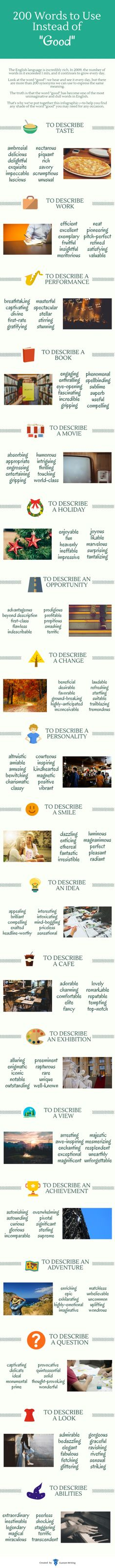 """Good"" is dull and unimaginative. People often use ""good"" as a lazy replacement for a more appropriate word. Custom Writing have created an excellent infographic that lists 200 words you can use instead of ""good"". For instance, to describe taste, use ""scrumptious"" or ""delicious"". To describe a performance, use ""stellar"" or ""captivating"". Know more in […]"