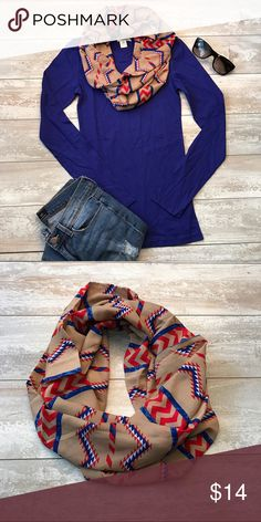 Zig Zag Infinity Scarves Chic and timeless Style. 100% Polyester. Brand new. Accessories Scarves & Wraps