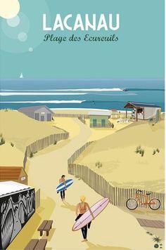Lacanau Ocean, Surf Art, Aquitaine, Vintage Travel Posters, Advertising Design, Holiday Destinations, Vintage Images, Bedroom Posters, Mediterranean Decor