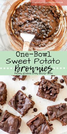 One-Bowl Sweet Potato Brownies {Paleo} Super fudgy. Super easy to make and with a healthy dose of good-for-you sweet potatoes thrown into the mix, One-Bowl Sweet Potato Brownies are the perfect little treat. Mixed entirely in one bowl and Healthy Sweets, Healthy Dessert Recipes, Healthy Baking, Vegan Desserts, Whole Food Recipes, Healthy Sweet Treats, Whole Food Desserts, Clean Eating Desserts, Gluten And Dairy Free Desserts Easy