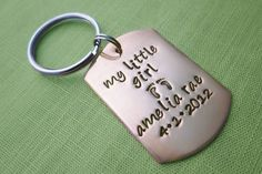 Customized Keychain in Copper with Name & Birthdate | My Little Girl and Baby Feet | Personalized Dad Gift