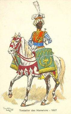 Leroux - Histoire du costume 1807-1809 - Les costumes militaires -1807 - Timbalier des Mameluks