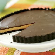 Chocolate-Glazed Peanut Butter Tart - FineCooking