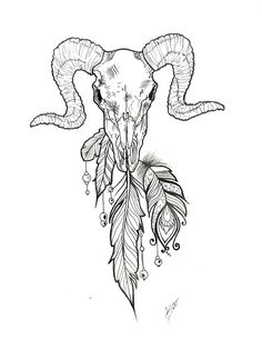 Aries skull tattoo design idea Skull design with feathers fineline skull drawing by @boolitjes Animal skull design aries design Tattoo design drawing Skull drawing