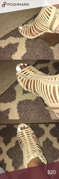 """Beige colored Caged 4""""Wedges Only tried on inside 😍In love w this look.. Has been stored away..(scrunched look at top of shoes) that's from being stored up under boxes etc,. Shoes are still wearable and New..🤦🏾♀️😂😎 Make a Offer..;) Shoes Wedges"""