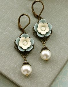 Dusty Blue Pansy Flower, with Ivory Pearls Earrings.