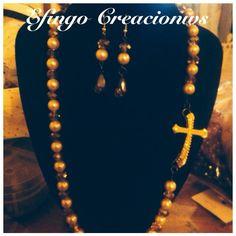 collar de cristal perlas y enlazador de cruz