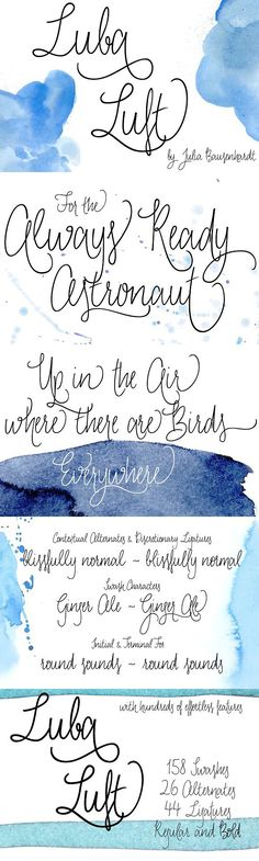 Luba Luft is a semi-connected script font that has an airy and casual look to it. Smooth letters with upright curves flow effortlessly over the page, the Script Typeface, Wedding Fonts, Cool Fonts, Text You, Your Design, Letters, Elegant Fonts, Cards, Classy Fonts