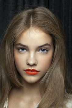 Barbara Palvin backstage at Milly Spring 2011... lovely tangerine.