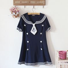 color:Navy blue  size:free size,  skirts length:74 cm,  bust:88 cm,  waist:80 cm,  sweep:150 cm,  sleeve length:16 cm,  shoulder width:37 cm,  Material: cotton and linen,  content:95% on more,  more style,please visit:  http://fashionkawaii.storenvy.com/