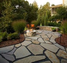 Best Natural Stone Patio Design Ideas Flagstone Patio, Small Backyard Patio GreenScapes Landscaping and . Large Backyard Landscaping, Backyard Patio Designs, Patio Ideas, Backyard Ideas, Landscaping Ideas, Wood Chips Landscaping, Nice Backyard, Walkway Ideas, Luxury Landscaping