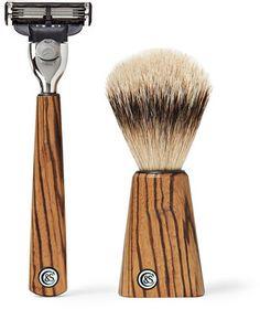Czech & Speake Zebrano Wood Shaving Set In Brown Mens Shaving Set, Men's Shaving, Toe Nail Clippers, Manicure Set, Mr Porter, Men's Grooming, Hair Brush, Grey Leather, Toe Nails