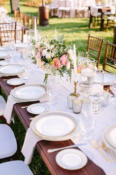 Table arrangement ideas! View the full wedding here: http://thedailywedding.com/2015/12/26/ornate-manor-wedding-lauren-adam/