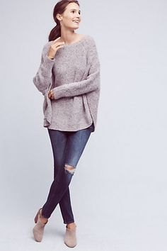 Speckled Poncho Pullover #anthropologie  Perfect neutral coloring. For looks cozy and had a sweet romantic vibe. Love how it is open under the arms.