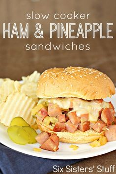 Slow Cooker Ham and Pineapple Sandwiches - the perfect way to use leftover ham! SixSistersStuff.com